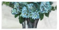 Blue Hydrangea's In Silver Vase Bath Towel