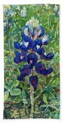 Hand Towel featuring the painting Blue In Bloom 2 by Hailey E Herrera
