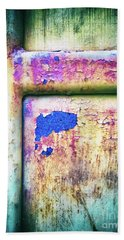 Bath Towel featuring the photograph Blue In Iron Door by Silvia Ganora