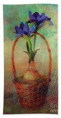 Bath Towel featuring the digital art Blue Iris In A Basket by Lois Bryan