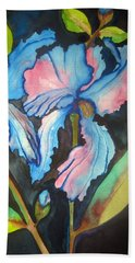 Blue Iris Hand Towel by Lil Taylor