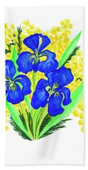 Blue Irises And Mimosa Bath Towel
