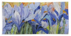 Blue Irises Palette Knife Painting Hand Towel by Chris Hobel