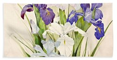 Blue Irises-posthumously Presented Paintings Of Sachi Spohn  Bath Towel