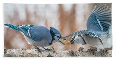 Blue Jay Battle Bath Towel by Patti Deters