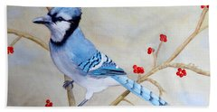Blue Jay Bath Towel by Laurel Best