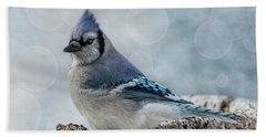 Blue Jay Perch Bath Towel