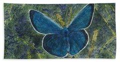 Blue Karner Butterfly Watercolor Batik Bath Towel