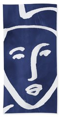 Blue Lady- Art By Linda Woods Bath Towel