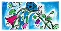 Blue Ladybug Hand Towel