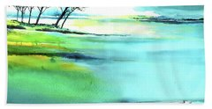 Hand Towel featuring the painting Blue Lagoon by Anil Nene