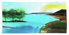 Hand Towel featuring the painting Blue Lake by Anil Nene