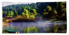 Blue Lake Spring Misty Geese  Bath Towel