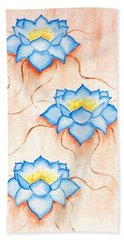 Blue Lilies Bath Towel by Elizabeth Lock