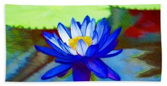 Hand Towel featuring the painting Blue Lotus Flower by Lanjee Chee