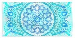 Blue Lotus Mandala Hand Towel by Tammy Wetzel