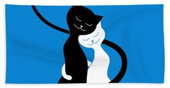 Blue Love Cats Hand Towel