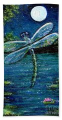 Blue Moon Dragonfly Hand Towel