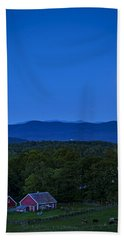 Blue Moon Rising Over Church Steeple Hand Towel