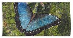 Blue Morpho Butterfly Batik Bath Towel