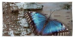 Blue Morpho Butterfly On White Birch Bark Hand Towel by Patti Deters