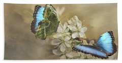 Blue Morpho In Spring Hand Towel by Janette Boyd