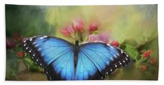 Blue Morpho On A Blossom Bath Towel