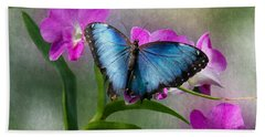 Blue Morpho With Orchids Hand Towel