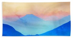 Blue Mountains Watercolour Bath Towel