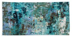 Hand Towel featuring the painting Blue Ocean - Abstract Art by Carmen Guedez