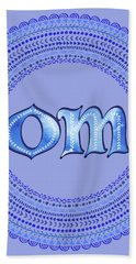 Blue Om Mandala Bath Towel by Tammy Wetzel