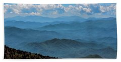 Blue On Blue - Great Smoky Mountains Hand Towel by Nikolyn McDonald