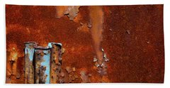 Hand Towel featuring the photograph Blue On Rust by Karol Livote
