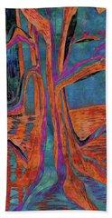 Blue-orange Warm Dusk River Tree Hand Towel