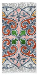 Blue Oriental Tile 03 Hand Towel