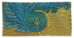 Bath Towel featuring the digital art Abstract Blue Owl by Ben and Raisa Gertsberg