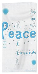 Blue Peace Hand Towel by Linda Prewer