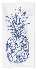Blue Pineapple- Art By Linda Woods Bath Towel