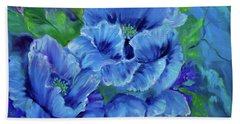 Blue Poppies 11 Hand Towel by Jenny Lee