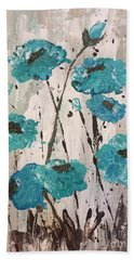 Hand Towel featuring the painting Blue Poppies by Lucia Grilletto