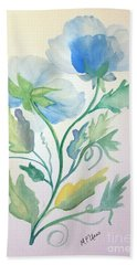 Blue Poppies Bath Towel by Maria Urso