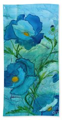 Blue Poppies, Watercolor On Yupo Hand Towel