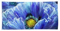 Bath Towel featuring the mixed media Blue Poppy Splash by Carol Cavalaris