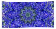 Blue Purple Lavender Floral Kaleidoscope Wall Art Print Hand Towel by Carol F Austin