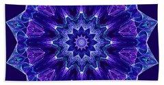 Blue And Purple Mandala Fractal Hand Towel