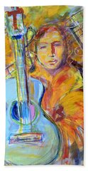 Bath Towel featuring the painting Blue Quitar by Mary Schiros