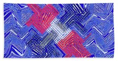 Blue Red And White Janca Abstract Panel Bath Towel