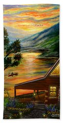Blue Ridge Mountain Lakeside Cabin Hand Towel by Patricia L Davidson