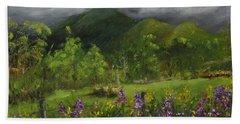 Blue Ridge Mountain Summer Landscape Painting Hand Towel