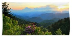 Blue Ridge Parkway And Rhododendron  Hand Towel